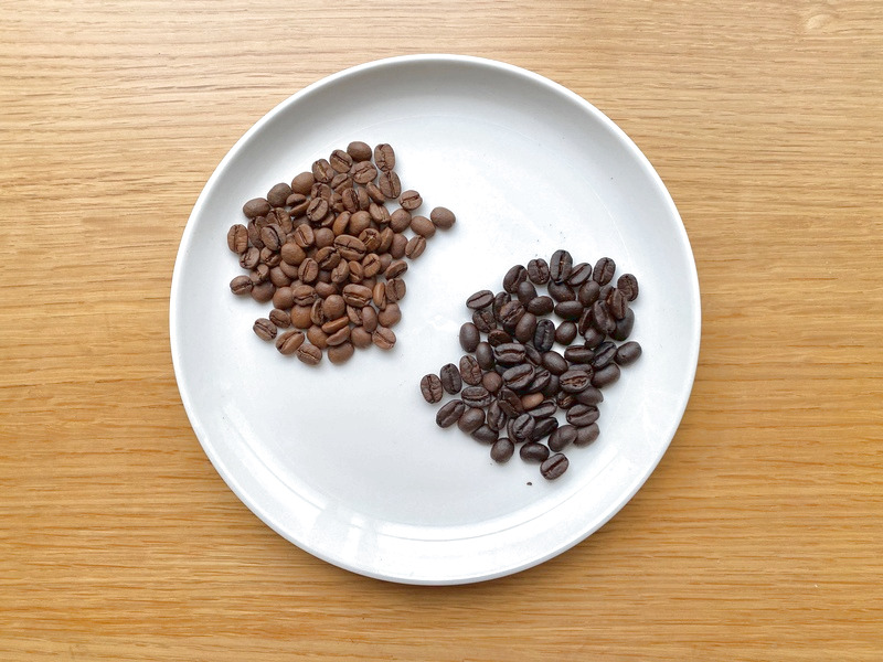 浅煎り豆はシナモンのような明るい茶色をしています。