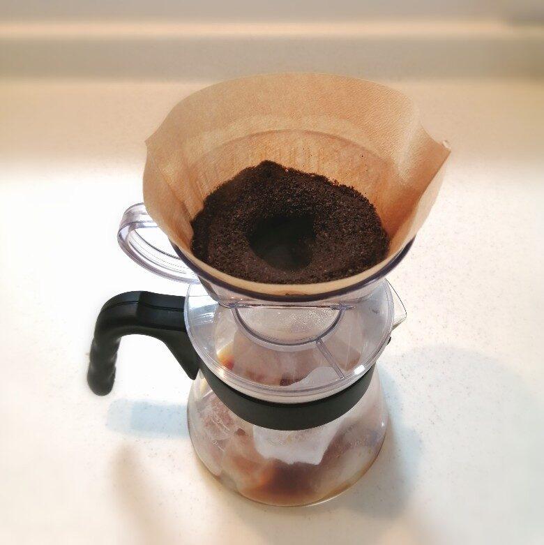 お湯を含んだコーヒー粉