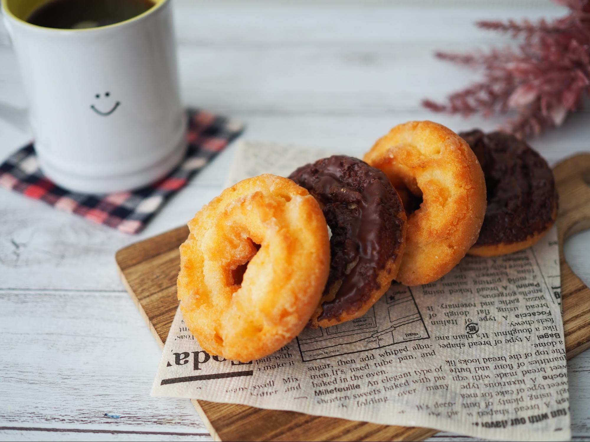 コーヒーとケーキドーナツ(プレーン&チョコ)