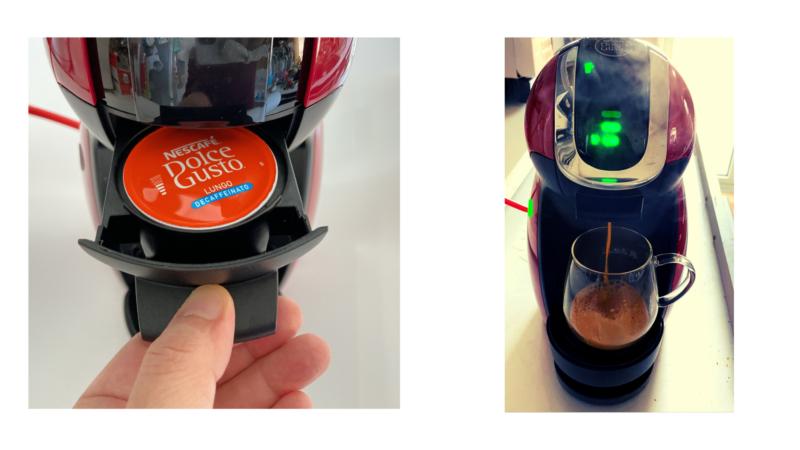 ドルチェグストのレバーを降ろしてコーヒーを淹れる